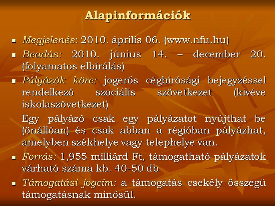 Alapinformációk Megjelenés : 2010.április 06. (www.nfu.hu) Megjelenés : 2010.