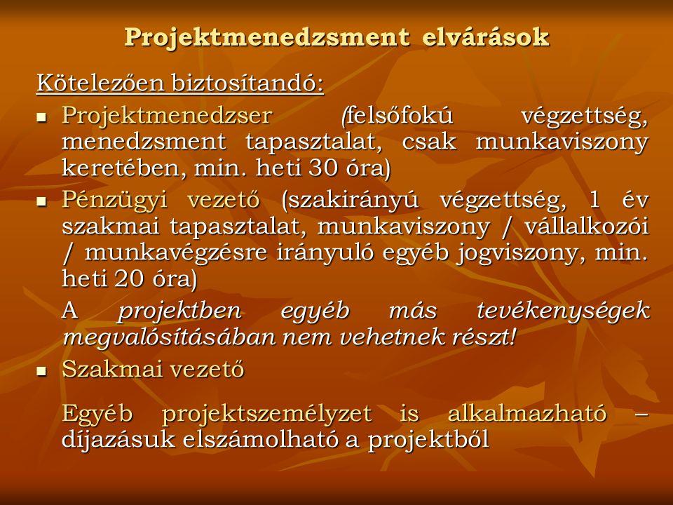 Projektmenedzsment elvárások Kötelezően biztosítandó: Projektmenedzser ( felsőfokú végzettség, menedzsment tapasztalat, csak munkaviszony keretében, min.