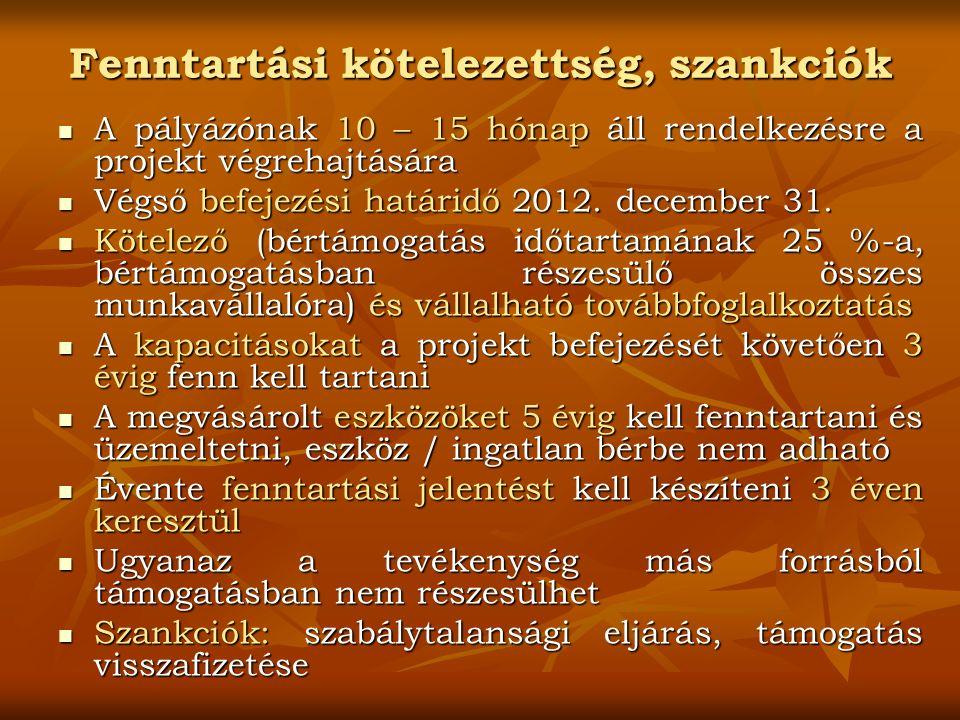 Fenntartási kötelezettség, szankciók A pályázónak 10 – 15 hónap áll rendelkezésre a projekt végrehajtására A pályázónak 10 – 15 hónap áll rendelkezésre a projekt végrehajtására Végső befejezési határidő 2012.