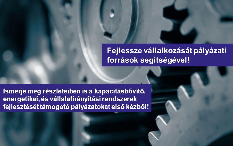 Fejlessze vállalkozását pályázati források segítségével! Ismerje meg részleteiben is a kapacitásbővítő, energetikai, és vállalatirányítási rendszerek