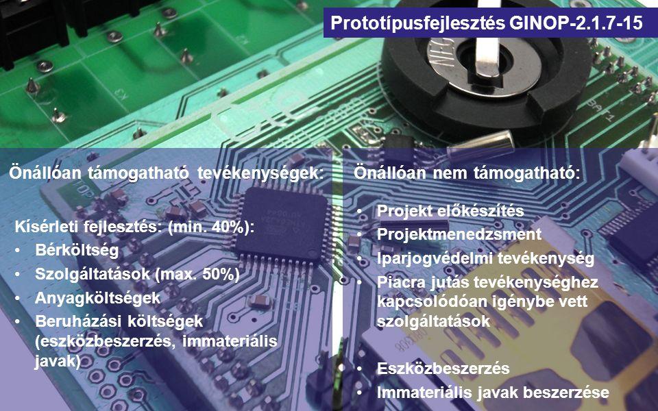 Prototípusfejlesztés GINOP-2.1.7-15 Kritériumok: A projektjavaslat új (vagy alapvetően átdolgozott) termékek, szolgáltatások, eljárások prototípusfejlesztését célozza A projektjavaslat újdonságot és szellemi hozzáadott értéket tartalmaz → Ajánlott K+F minősítés kérése az SZTNH-tól.