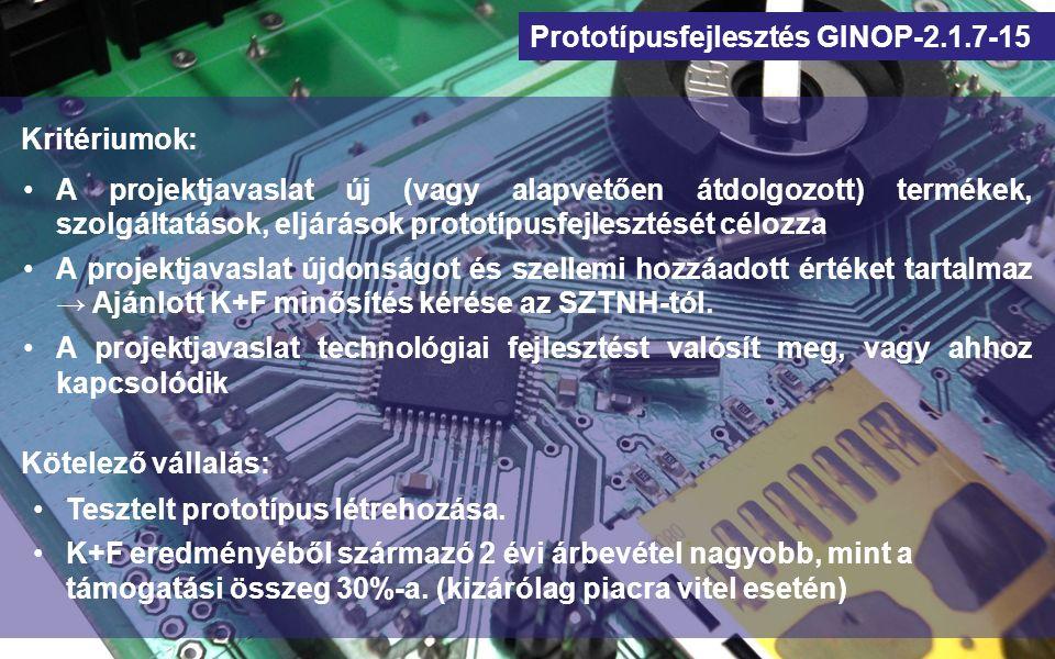 Prototípusfejlesztés GINOP-2.1.7-15 Kritériumok: A projektjavaslat új (vagy alapvetően átdolgozott) termékek, szolgáltatások, eljárások prototípusfejl