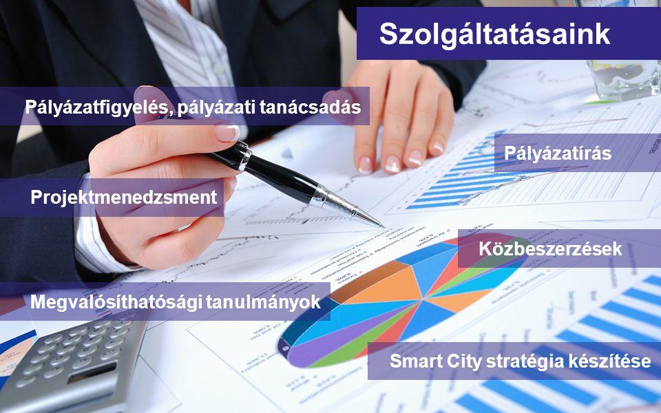 Pályázatfigyelés, pályázati tanácsadás Szolgáltatásaink Projektmenedzsment Közbeszerzések Megvalósíthatósági tanulmányok Smart City stratégia készítés