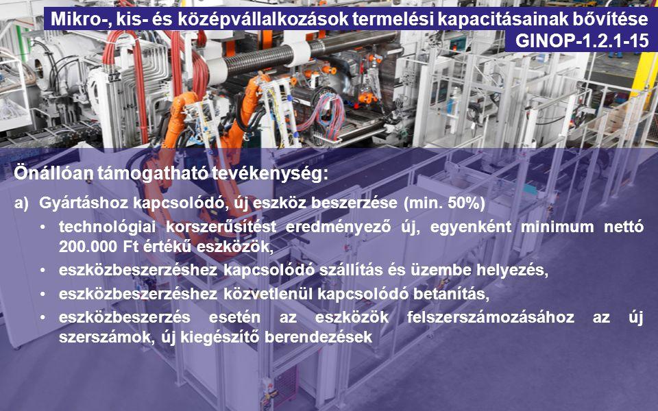 Önállóan nem támogatható, kapcsolódó tevékenységek: b)Anyagmozgatáshoz és/vagy raktározáshoz és/vagy csomagoláshoz kapcsolódó új eszköz beszerzése c)Az új termelő eszköz működtetéséhez szükséges infrastrukturális és ingatlan beruházás d)Információs technológia-fejlesztés: kizárólag az új berendezéshez kapcsolódó új informatikai eszközök és szoftverek e)Az új eszköz beszerzéséhez kapcsolódó gyártási licenc, gyártási know-how beszerzések f)Megváltozott munkaképességű munkavállalók munkakörülményeinek, a minőségi munkavégzés feltételeinek fejlesztése Mikro-, kis- és középvállalkozások termelési kapacitásainak bővítése GINOP-1.2.1-15