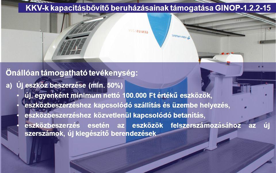 Önállóan támogatható tevékenység: a)Új eszköz beszerzése (min. 50%) új, egyenként minimum nettó 100.000 Ft értékű eszközök, eszközbeszerzéshez kapcsol