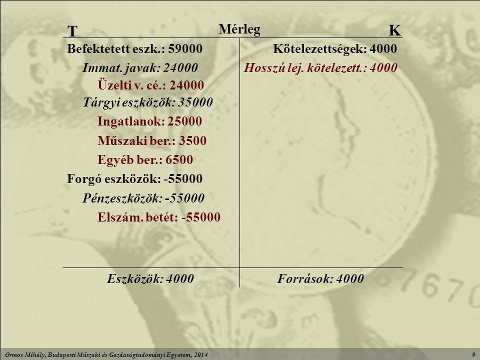 Ormos Mihály, Budapesti Műszaki és Gazdaságtudományi Egyetem, 20149 Források: 4000Eszközök: 4000 Elszám.