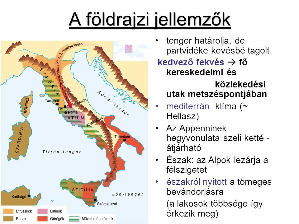 A földrajzi jellemzők tenger határolja, de partvidéke kevésbé tagolt kedvező fekvés  fő kereskedelmi és közlekedési utak metszéspontjában mediterrán klíma (~ Hellasz) Az Appenninek hegyvonulata szeli ketté - átjárható Észak: az Alpok lezárja a félszigetet északról nyitott a tömeges bevándorlásra (a lakosok többsége így érkezik meg)