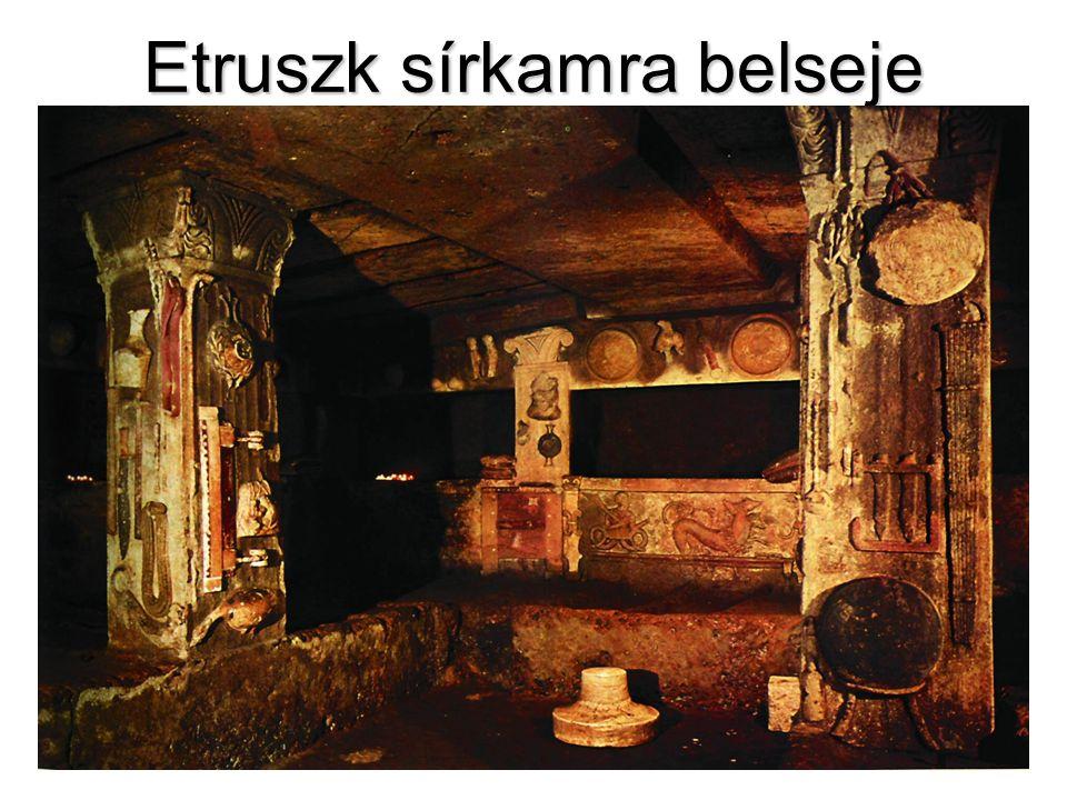 Etruszk sírkamra belseje