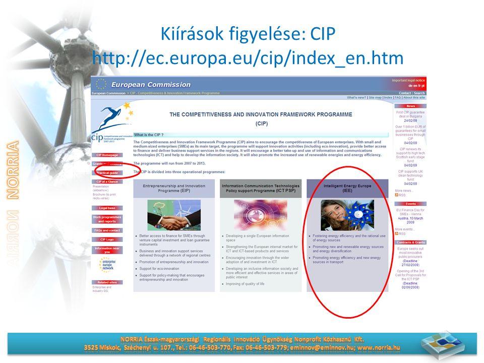Kiírások figyelése: CIP http://ec.europa.eu/cip/index_en.htm