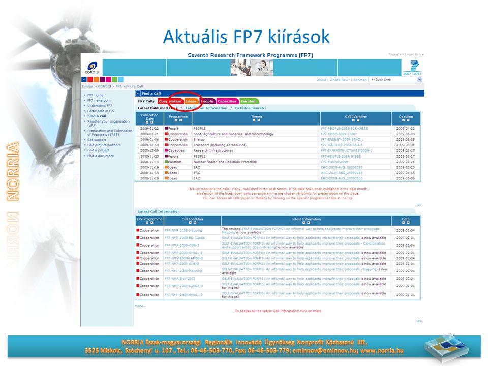 Aktuális FP7 kiírások