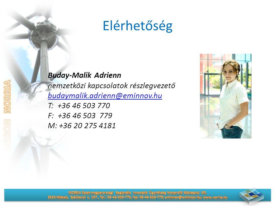 Elérhetőség Buday-Malik Adrienn nemzetközi kapcsolatok részlegvezető budaymalik.adrienn@eminnov.hu T: +36 46 503 770 F: +36 46 503 779 M: +36 20 275 4181