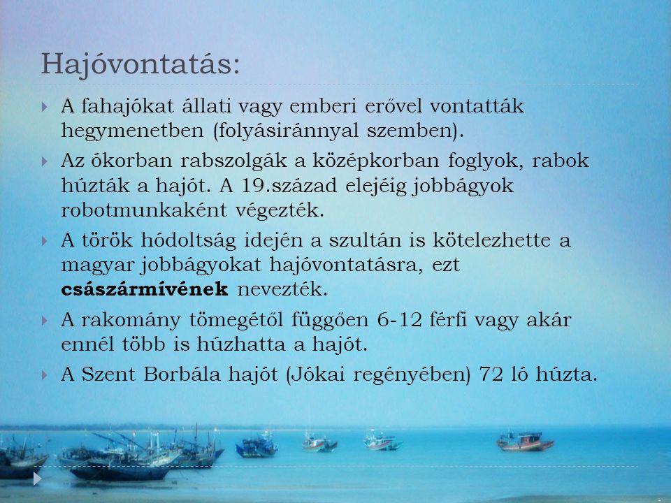 Hajóvontatás:  A fahajókat állati vagy emberi erővel vontatták hegymenetben (folyásiránnyal szemben).  Az ókorban rabszolgák a középkorban foglyok,