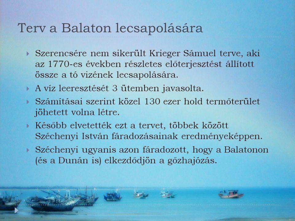Terv a Balaton lecsapolására  Szerencsére nem sikerült Krieger Sámuel terve, aki az 1770-es években részletes előterjesztést állított össze a tó vizének lecsapolására.
