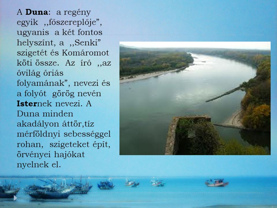 """A Duna : a regény egyik,,főszereplője"""", ugyanis a két fontos helyszínt, a,,Senki"""" szigetét és Komáromot köti össze. Az író,,az óvilág óriás folyamának"""