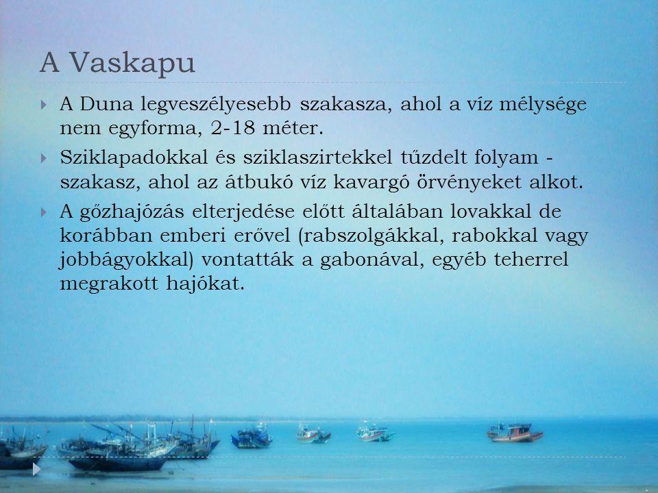 A Vaskapu  A Duna legveszélyesebb szakasza, ahol a víz mélysége nem egyforma, 2-18 méter.  Sziklapadokkal és sziklaszirtekkel tűzdelt folyam - szaka