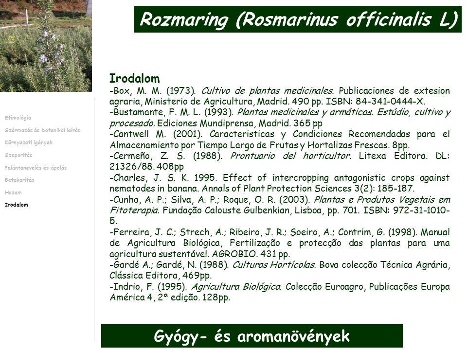 -Box, M. M. (1973). Cultivo de plantas medicinales.