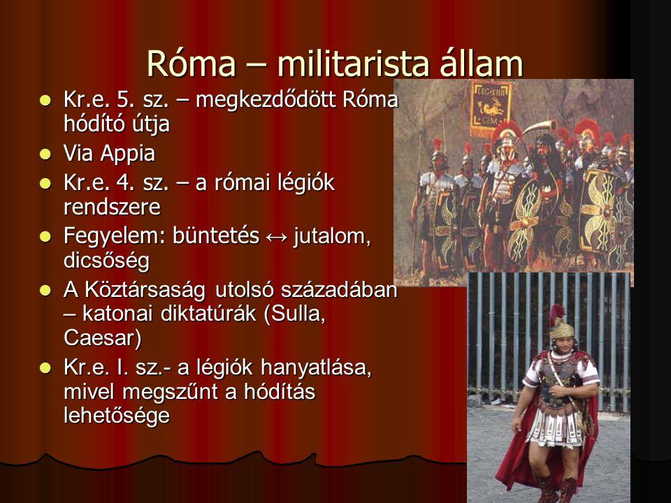 Róma – militarista állam Kr.e. 5. sz. – megkezdődött Róma hódító útja Kr.e. 5. sz. – megkezdődött Róma hódító útja Via Appia Via Appia Kr.e. 4. sz. –