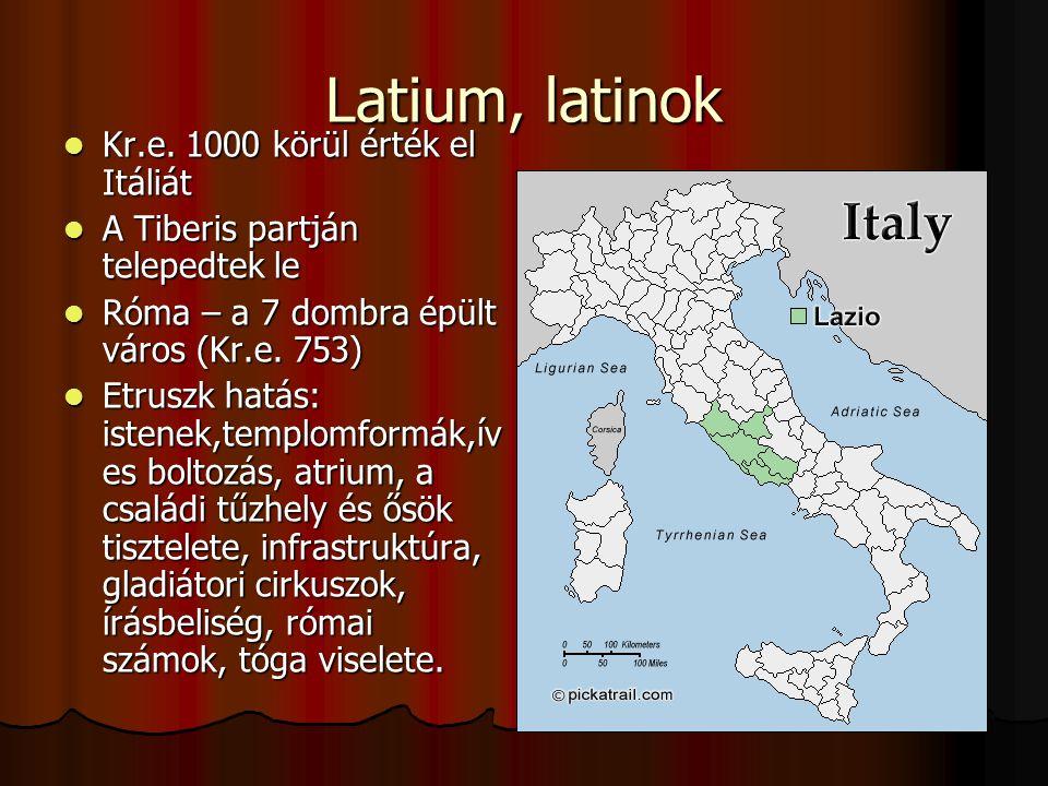 Latium, latinok Kr.e. 1000 körül érték el Itáliát Kr.e. 1000 körül érték el Itáliát A Tiberis partján telepedtek le A Tiberis partján telepedtek le Ró