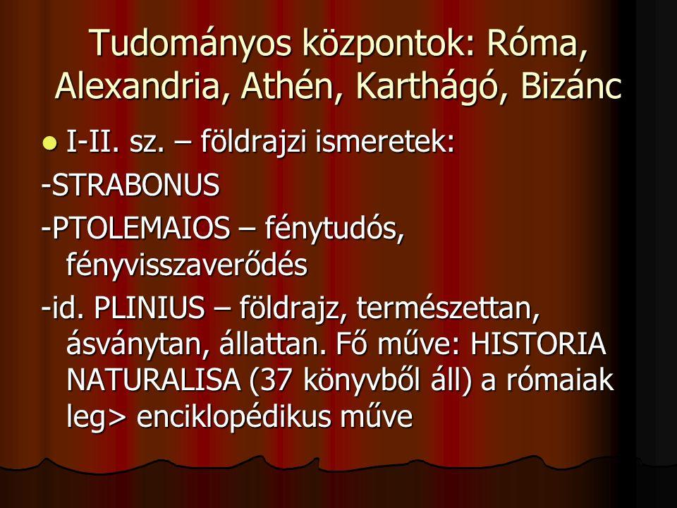 Tudományos központok: Róma, Alexandria, Athén, Karthágó, Bizánc I-II. sz. – földrajzi ismeretek: I-II. sz. – földrajzi ismeretek:-STRABONUS -PTOLEMAIO