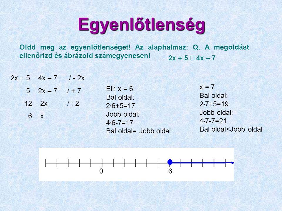 Egyenlőtlenség 2x + 5  4x – 7 / - 2x 5  2x – 7 / + 7 12  2x / : 2 6  x Oldd meg az egyenlőtlenséget! Az alaphalmaz: Q. A megoldást ellenőrizd és á