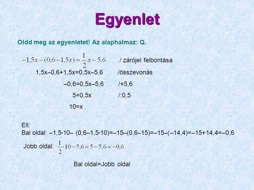 Egyenlet 1,5x–0,6+1,5x=0,5x–5,6 /összevonás –0,6=0,5x–5,6 /+5,6 5=0,5x /:0,5 10=x Oldd meg az egyenletet! Az alaphalmaz: Q. Ell: Bal oldal: –1,5  10–