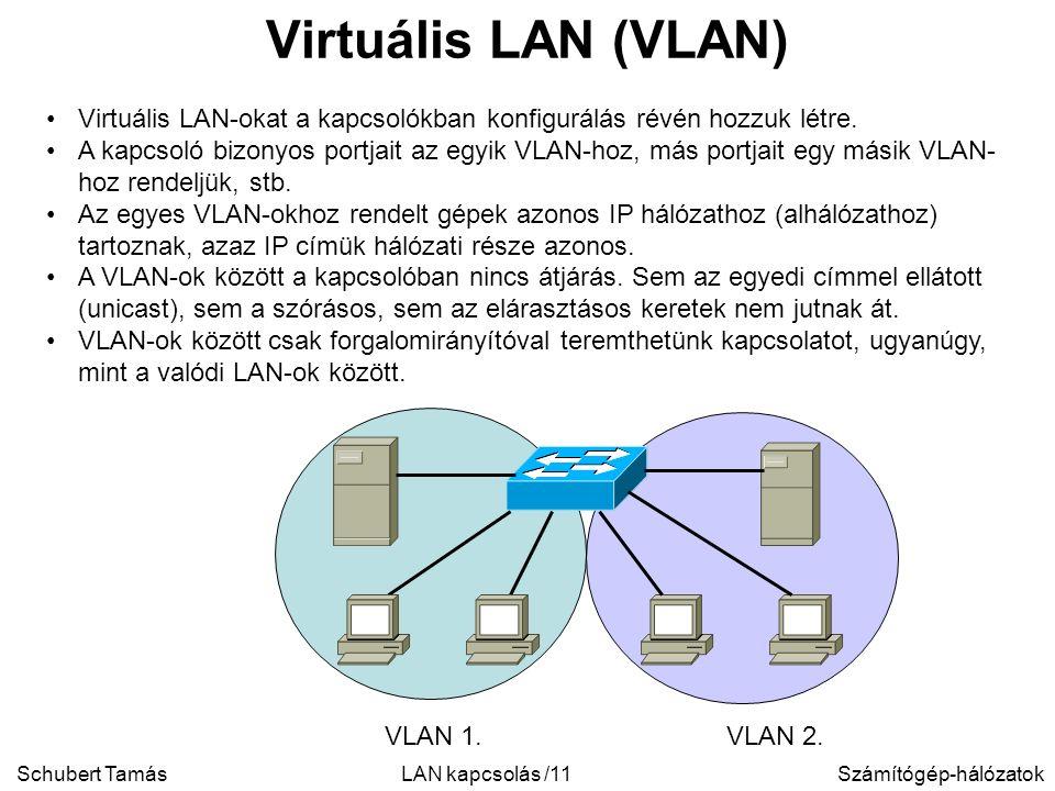 Schubert TamásSzámítógép-hálózatokLAN kapcsolás /11 Virtuális LAN (VLAN) Virtuális LAN-okat a kapcsolókban konfigurálás révén hozzuk létre.