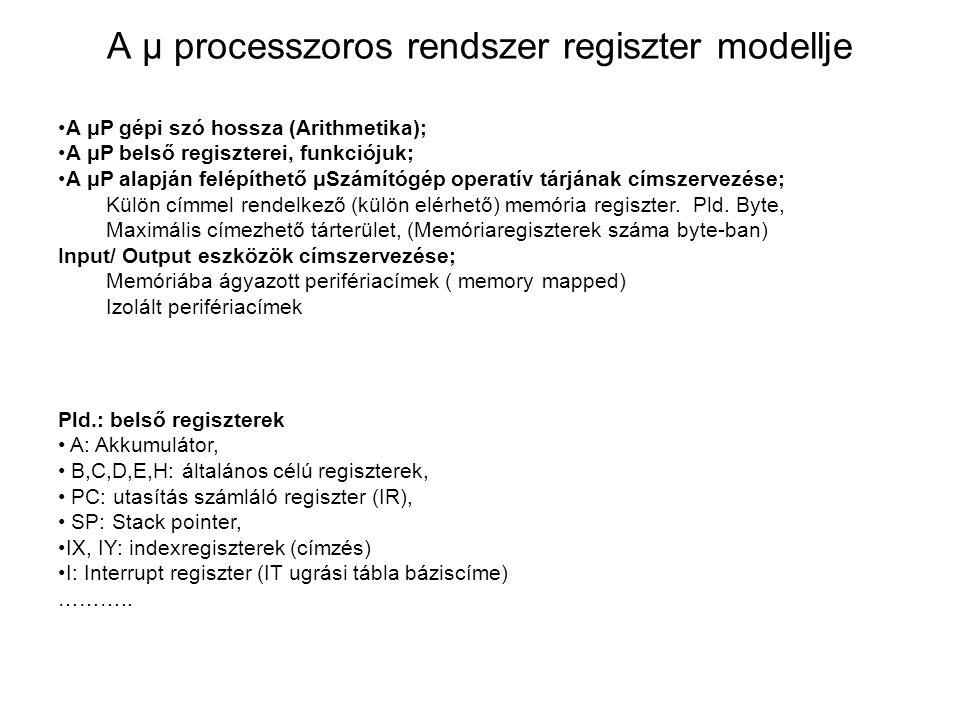 A μ processzoros rendszer regiszter modellje A μP gépi szó hossza (Arithmetika); A μP belső regiszterei, funkciójuk; A μP alapján felépíthető μSzámítógép operatív tárjának címszervezése; Külön címmel rendelkező (külön elérhető) memória regiszter.