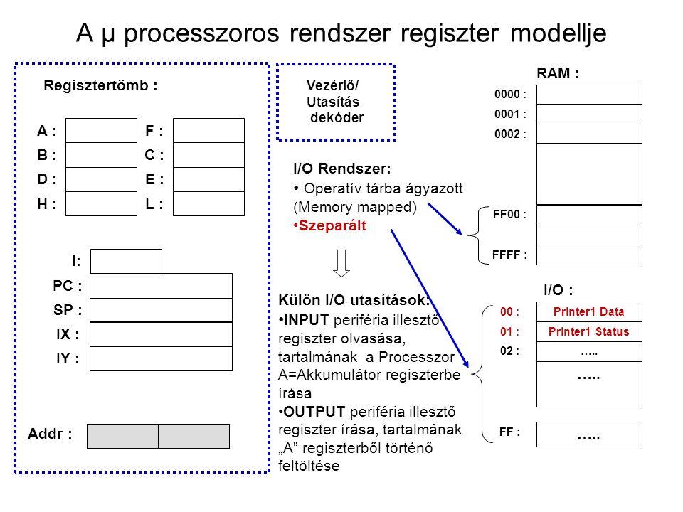 A μ processzoros rendszer regiszter modellje I/O Rendszer: Operatív tárba ágyazott (Memory mapped) Szeparált 0000 : 0001 : 0002 : PC : 0200 Regisztertömb : RAM : 00 A :F : B :C : D :E : H :L : SP : Vezérlő/ Utasítás dekóder Addr : FF00 : I: Printer1 Data 00 : Printer1 Status 01 : …..