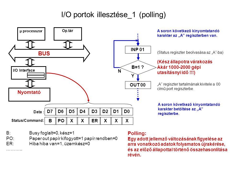 """I/O portok illesztése_1 (polling) μ processzor Op.tár I/O Interface BUS Nyomtató Data : Status/Command: INP 01 (Status regiszter beolvasása az """"A -ba) OUT 00 D7D6D5D4D3D2D1D0 B:Busy foglalt=0, kész=1 PO:Paper out papír kifogyott=1 papír rendben=0 ER:Hiba hiba van=1, üzemkész=0 ……….."""