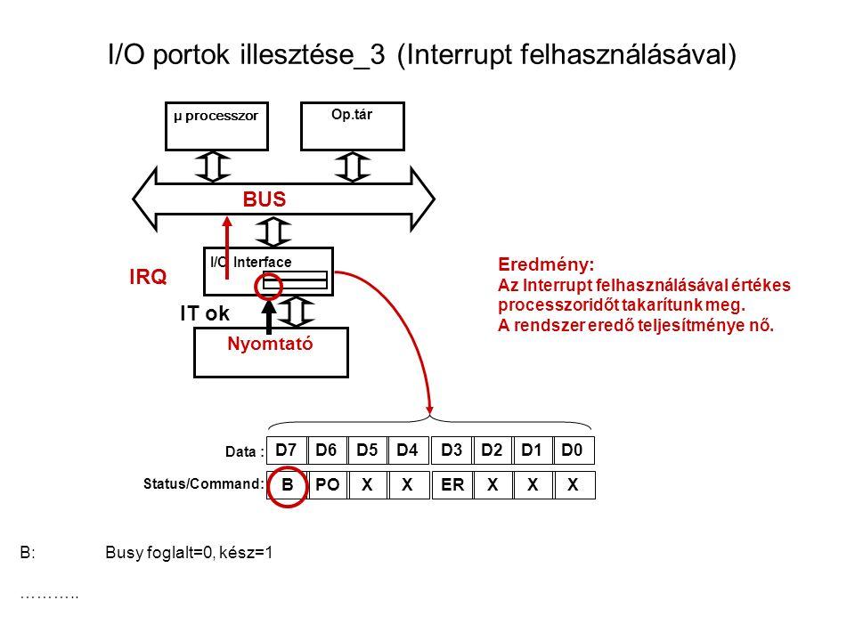 I/O portok illesztése_3 (Interrupt felhasználásával) μ processzor Op.tár I/O Interface BUS Nyomtató Data : Status/Command: D7D6D5D4D3D2D1D0 B:Busy foglalt=0, kész=1 ………..