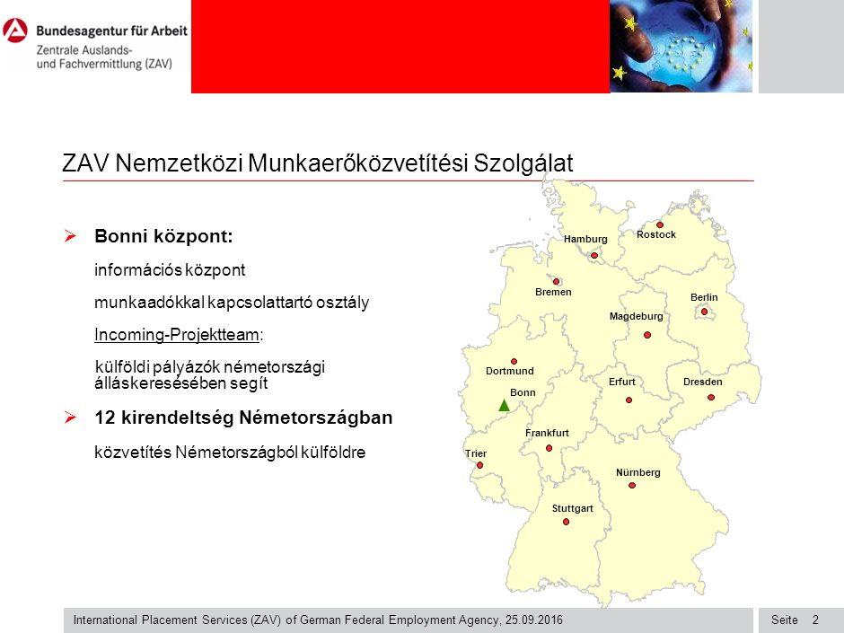 Seite International Placement Services (ZAV) of German Federal Employment Agency, 25.09.2016 2 ZAV Nemzetközi Munkaerőközvetítési Szolgálat  Bonni központ: információs központ munkaadókkal kapcsolattartó osztály Incoming-Projektteam: külföldi pályázók németországi álláskeresésében segít  12 kirendeltség Németországban közvetítés Németországból külföldre