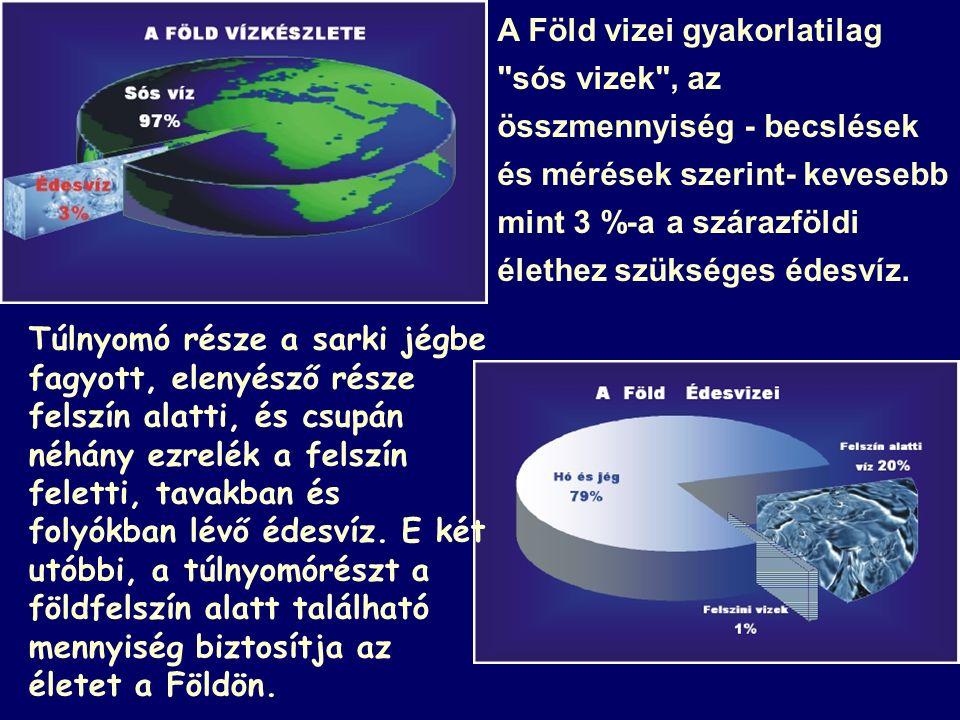 A Föld vizei gyakorlatilag sós vizek , az összmennyiség - becslések és mérések szerint- kevesebb mint 3 %-a a szárazföldi élethez szükséges édesvíz.