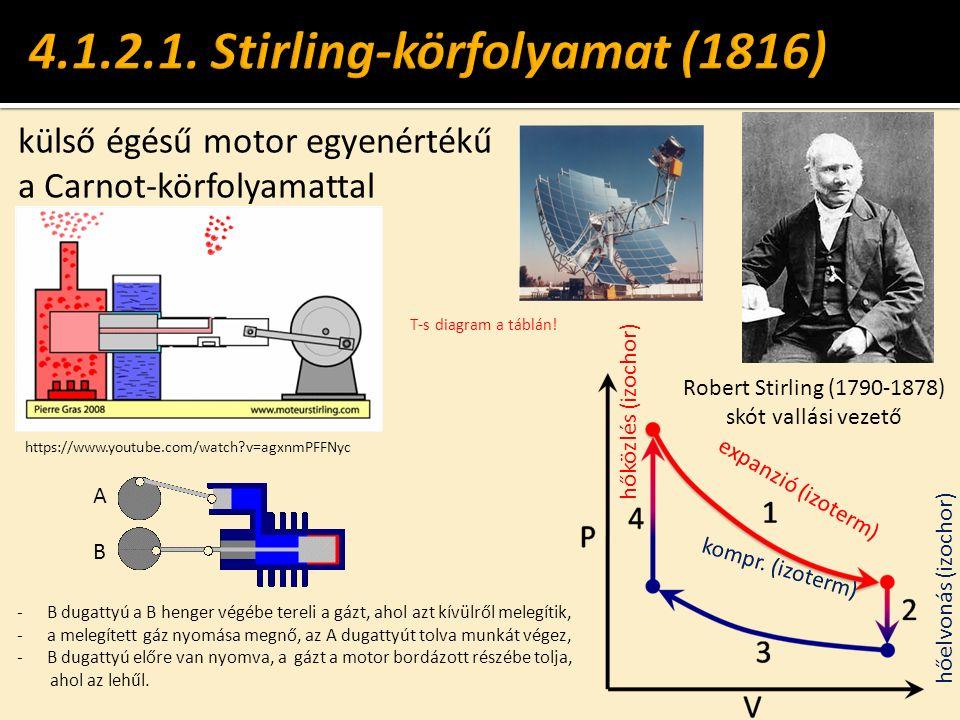 külső égésű motor egyenértékű a Carnot-körfolyamattal Robert Stirling (1790-1878) skót vallási vezető hőközlés (izochor) hőelvonás (izochor) expanzió (izoterm) kompr.