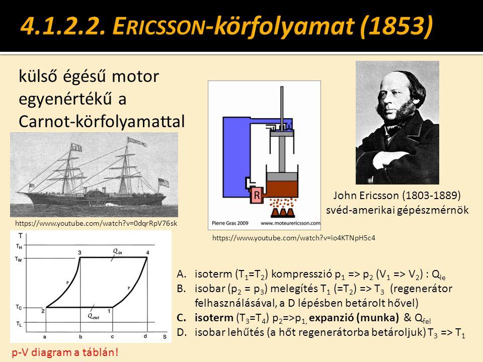 külső égésű motor egyenértékű a Carnot-körfolyamattal John Ericsson (1803-1889) svéd-amerikai gépészmérnök p-V diagram a táblán! A.isoterm (T 1 =T 2 )