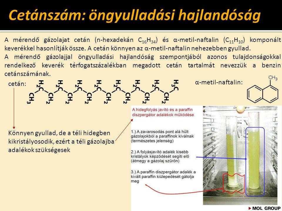 cetán: Könnyen gyullad, de a téli hidegben kikristályosodik, ezért a téli gázolajba adalékok szükségesek A mérendő gázolajat cetán (n-hexadekán C 16 H 34 ) és α-metil-naftalin (C 11 H 10 ) komponált keverékkel hasonlítják össze.