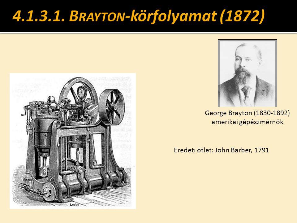 George Brayton (1830-1892) amerikai gépészmérnök Eredeti ötlet: John Barber, 1791