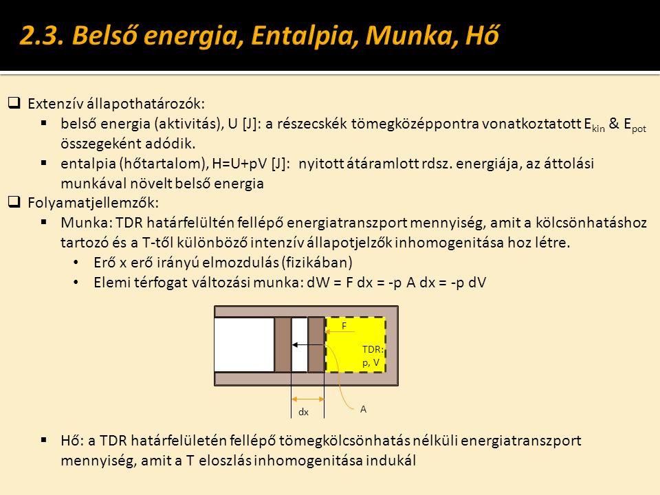  Extenzív állapothatározók:  belső energia (aktivitás), U [J]: a részecskék tömegközéppontra vonatkoztatott E kin & E pot összegeként adódik.  enta
