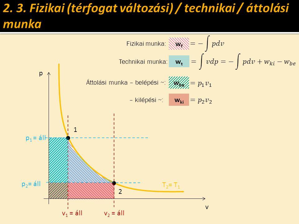 v p p 2 = áll p 1 = áll T 2 = T 1 v 1 = állv 2 = áll wfwf wtwt 2 1 w be w ki Fizikai munka: Technikai munka: Áttolási munka – belépési ~: – kilépési ~: