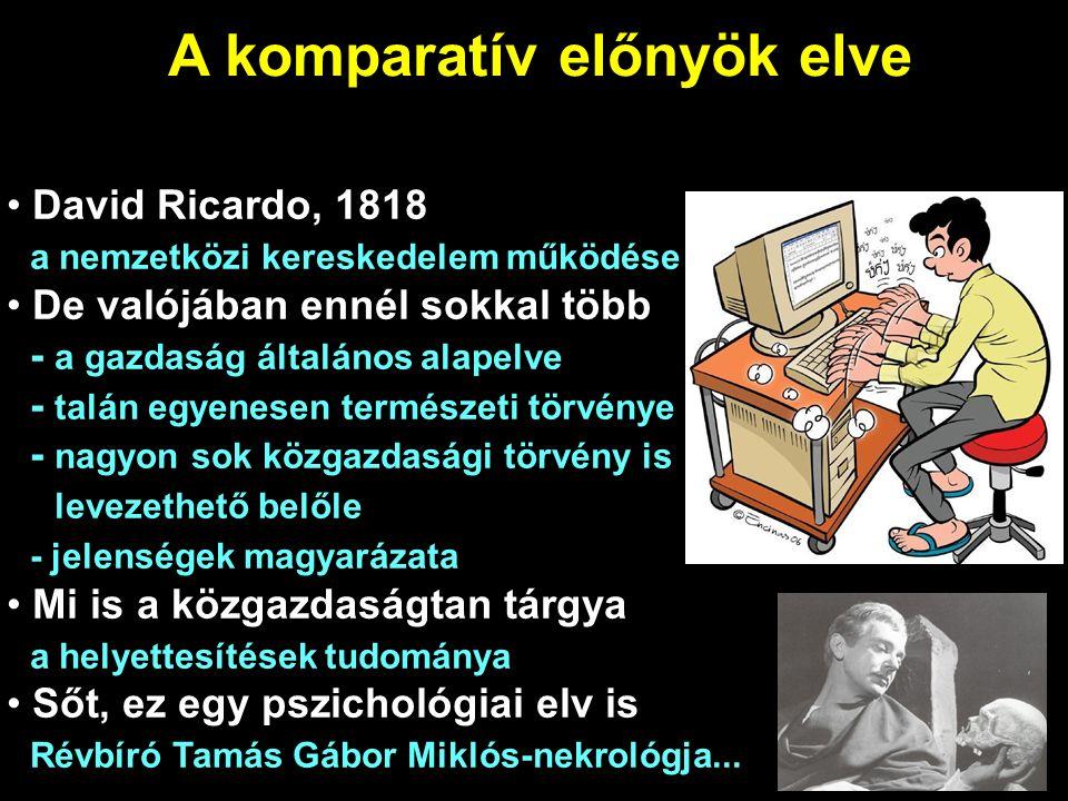 A komparatív előnyök elve David Ricardo, 1818 a nemzetközi kereskedelem működése De valójában ennél sokkal több - a gazdaság általános alapelve - talán egyenesen természeti törvénye - nagyon sok közgazdasági törvény is levezethető belőle - jelenségek magyarázata Mi is a közgazdaságtan tárgya a helyettesítések tudománya Sőt, ez egy pszichológiai elv is Révbíró Tamás Gábor Miklós-nekrológja...