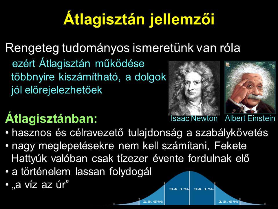 """Átlagisztán jellemzői Rengeteg tudományos ismeretünk van róla ezért Átlagisztán működése többnyire kiszámítható, a dolgok jól előrejelezhetőek Átlagisztánban: hasznos és célravezető tulajdonság a szabálykövetés nagy meglepetésekre nem kell számítani, Fekete Hattyúk valóban csak tízezer évente fordulnak elő a történelem lassan folydogál """"a víz az úr Isaac NewtonAlbert Einstein"""