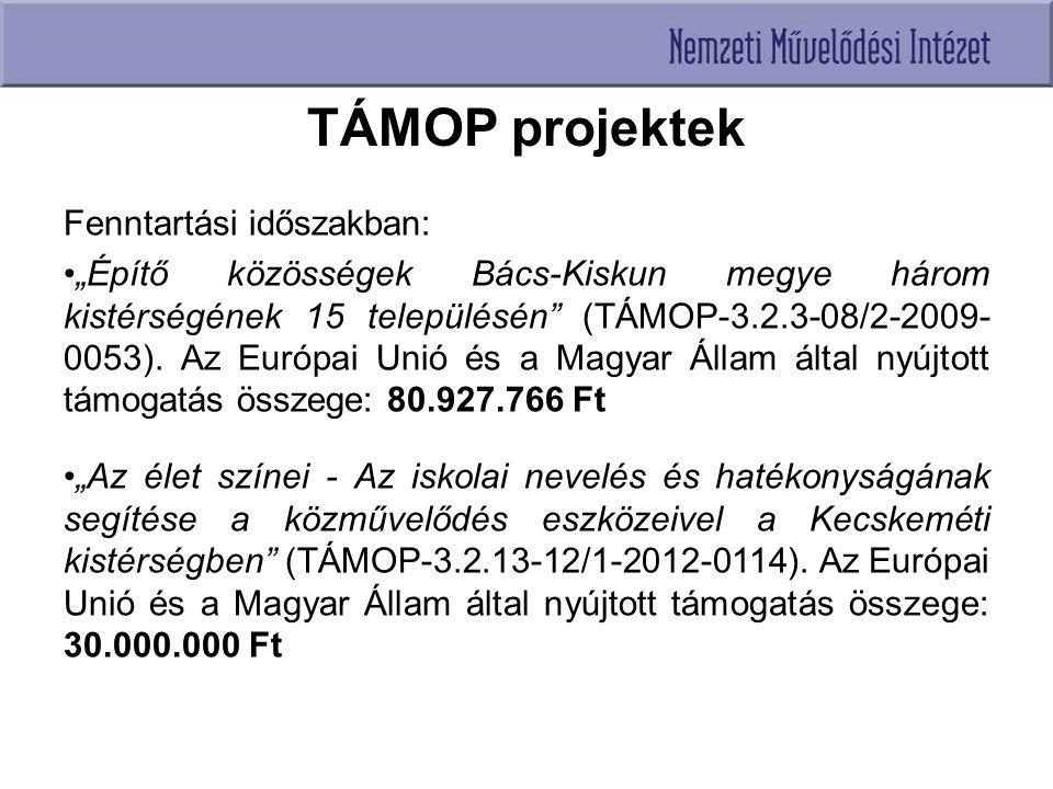 """TÁMOP projektek Fenntartási időszakban: """"Építő közösségek Bács-Kiskun megye három kistérségének 15 településén (TÁMOP-3.2.3-08/2-2009- 0053)."""