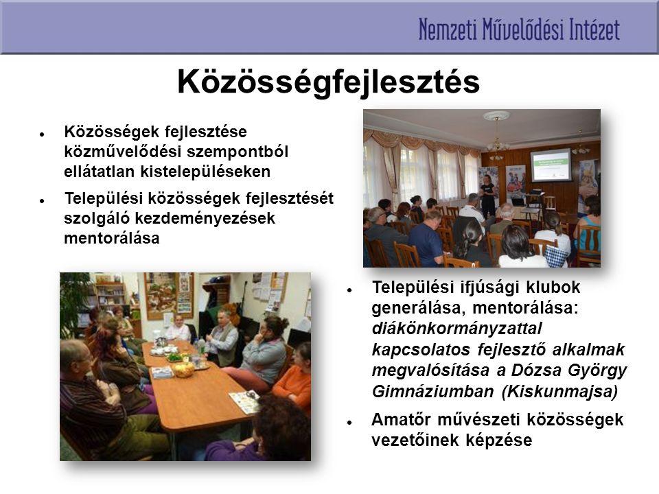 Közösségfejlesztés Települési ifjúsági klubok generálása, mentorálása: diákönkormányzattal kapcsolatos fejlesztő alkalmak megvalósítása a Dózsa György Gimnáziumban (Kiskunmajsa) Amatőr művészeti közösségek vezetőinek képzése Közösségek fejlesztése közművelődési szempontból ellátatlan kistelepüléseken Települési közösségek fejlesztését szolgáló kezdeményezések mentorálása