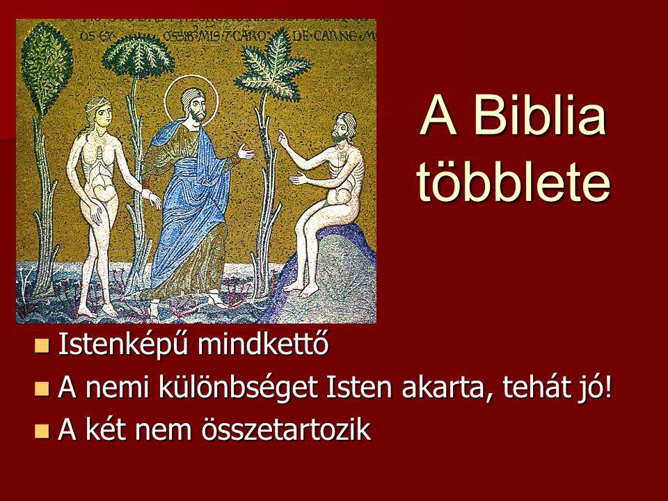 A Biblia többlete Istenképű mindkettő Istenképű mindkettő A nemi különbséget Isten akarta, tehát jó.