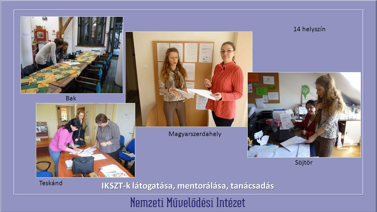 IKSZT-k látogatása, mentorálása, tanácsadás Bak Magyarszerdahely Söjtör Teskánd 14 helyszín