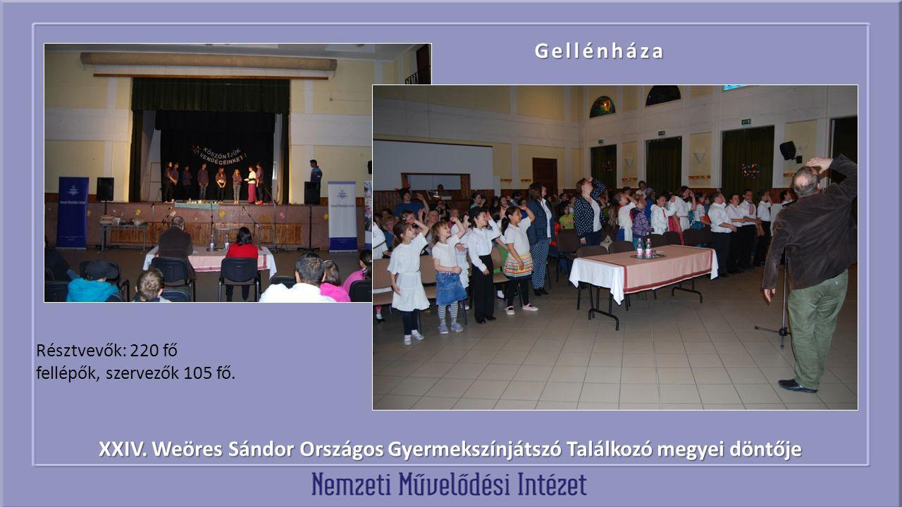 XXIV. Weöres Sándor Országos Gyermekszínjátszó Találkozó megyei döntője Gellénháza Résztvevők: 220 fő fellépők, szervezők 105 fő.