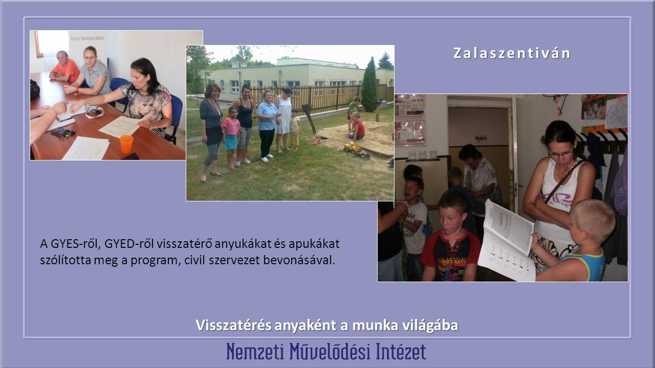 Visszatérés anyaként a munka világába Zalaszentiván A GYES-ről, GYED-ről visszatérő anyukákat és apukákat szólította meg a program, civil szervezet bevonásával.
