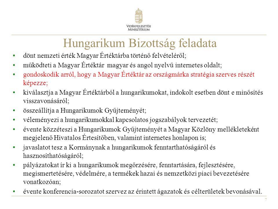 7 Hungarikum Bizottság feladata dönt nemzeti érték Magyar Értéktárba történő felvételéről; működteti a Magyar Értéktár magyar és angol nyelvű internetes oldalt; gondoskodik arról, hogy a Magyar Értéktár az országmárka stratégia szerves részét képezze; kiválasztja a Magyar Értéktárból a hungarikumokat, indokolt esetben dönt e minősítés visszavonásáról; összeállítja a Hungarikumok Gyűjteményét; véleményezi a hungarikumokkal kapcsolatos jogszabályok tervezetét; évente közzéteszi a Hungarikumok Gyűjteményét a Magyar Közlöny mellékleteként megjelenő Hivatalos Értesítőben, valamint internetes honlapon is; javaslatot tesz a Kormánynak a hungarikumok fenntarthatóságáról és hasznosíthatóságáról; pályázatokat ír ki a hungarikumok megőrzésére, fenntartására, fejlesztésére, megismertetésére, védelmére, a termékek hazai és nemzetközi piaci bevezetésére vonatkozóan; évente konferencia-sorozatot szervez az érintett ágazatok és célterületek bevonásával.