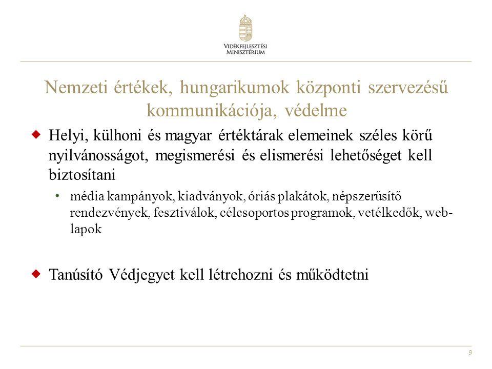 9 Nemzeti értékek, hungarikumok központi szervezésű kommunikációja, védelme  Helyi, külhoni és magyar értéktárak elemeinek széles körű nyilvánosságot, megismerési és elismerési lehetőséget kell biztosítani média kampányok, kiadványok, óriás plakátok, népszerűsítő rendezvények, fesztiválok, célcsoportos programok, vetélkedők, web- lapok  Tanúsító Védjegyet kell létrehozni és működtetni
