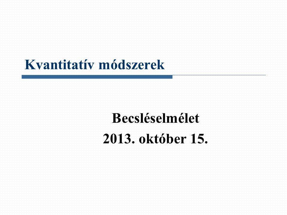 Kvantitatív módszerek Becsléselmélet 2013. október 15.