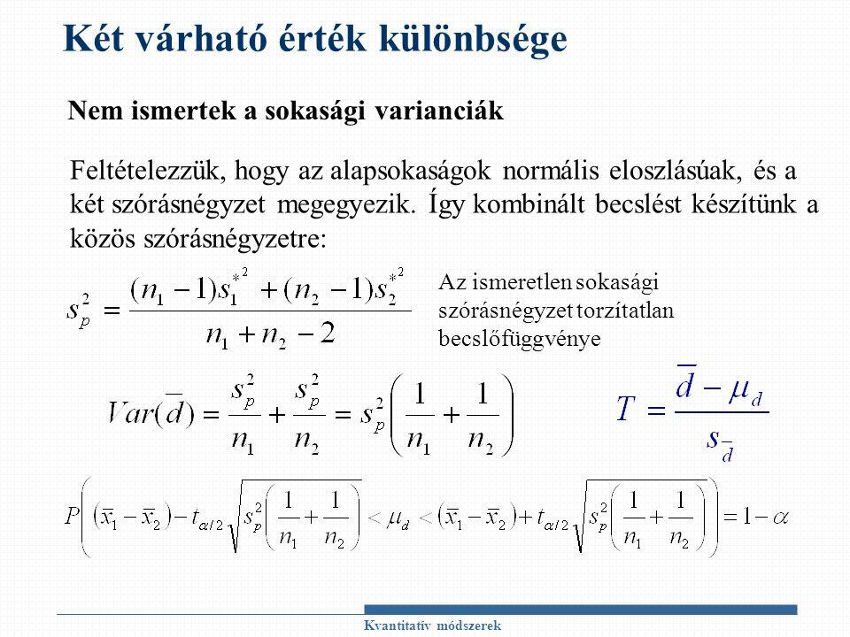 Kvantitatív módszerek Két várható érték különbsége Nem ismertek a sokasági varianciák Feltételezzük, hogy az alapsokaságok normális eloszlásúak, és a két szórásnégyzet megegyezik.